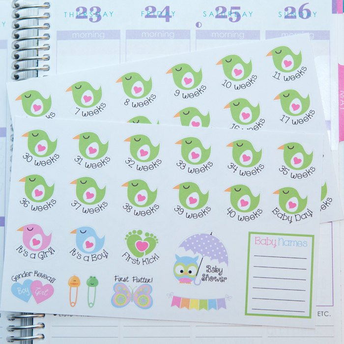 Pregnancy Planner Stickers Weekly Countdown & Events Pregnancy Count Down Calendar