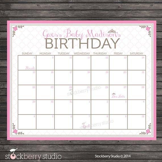 Princess Guess The Due Date Calendar Printable – Pink Guess The Baby Date Calendar