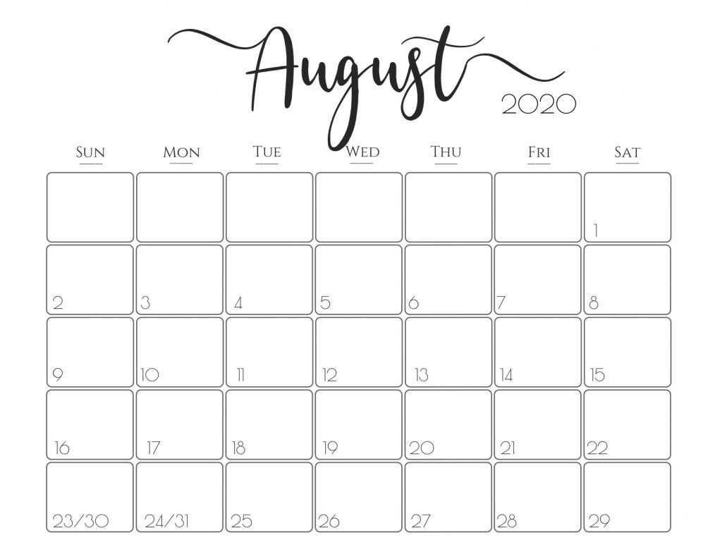Print Free Calendars Without Downloading August 2020 Free Online Printable Calendar Without Downloading