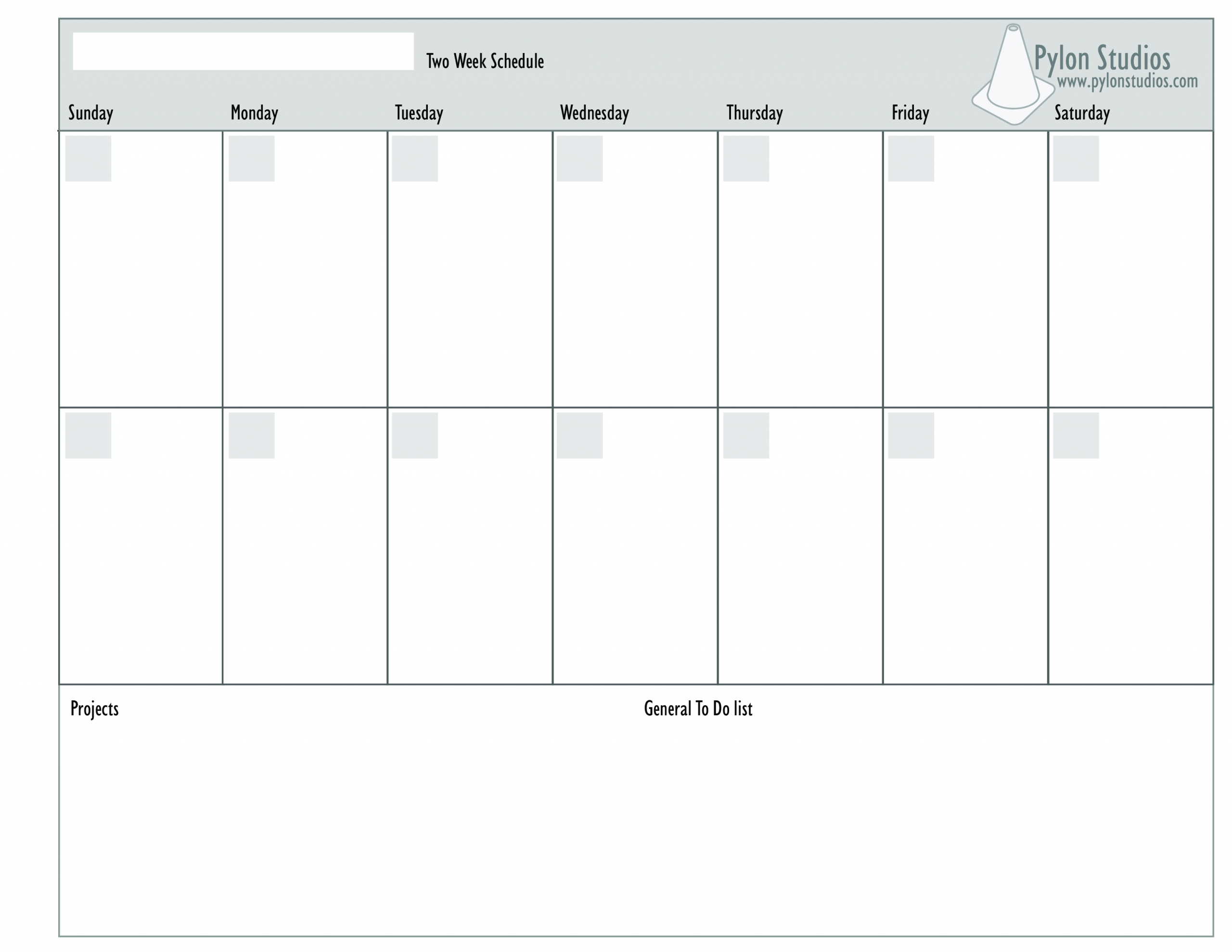 Printable 2 Week Blank Calendar Template   Example Two Week Calendar Template Word