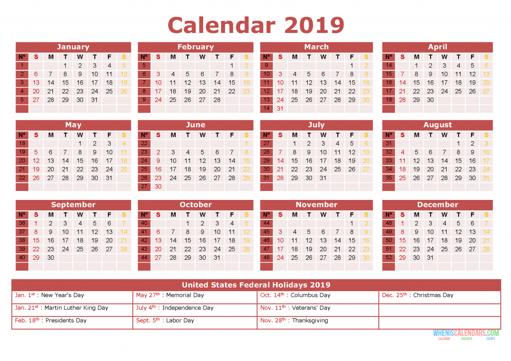 Printable 2019 Yearly Calendar With Holidays 12 Months In Free Printable 5 Year Calendar