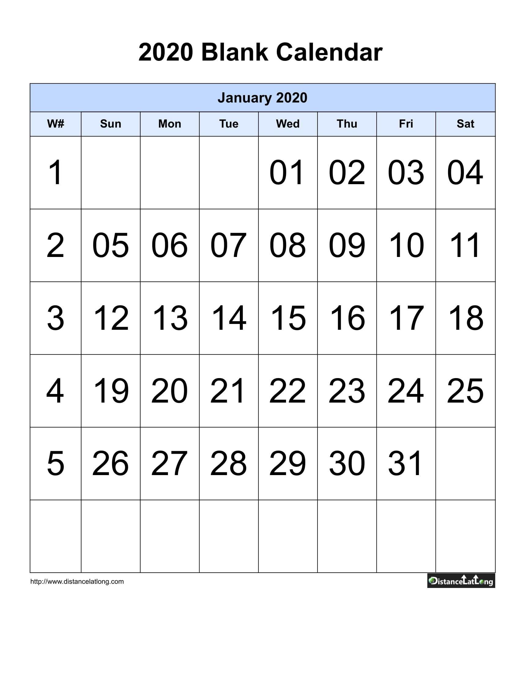 Printable 2020 Blank Calendar Blank Portrait Orientation Blank Sunday Through Saturday Calendar