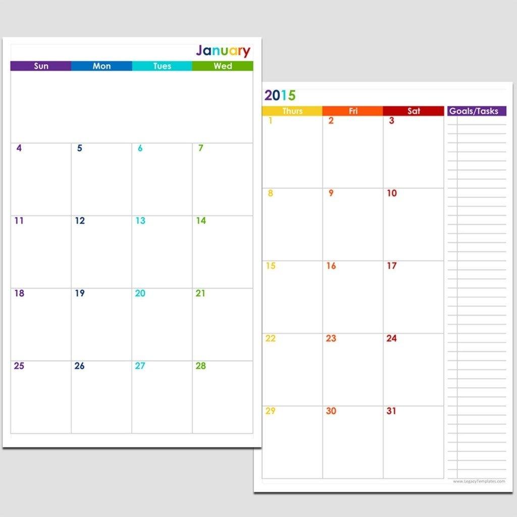 Printable 5.5 X 8.5 Monthly Calendar   Example Calendar Weekly Planner Template 5.5