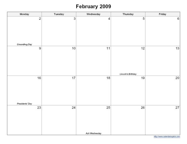 Printable 5 Day Monthly Calendar – Calendarsquick 5 Day Calendar Free Template