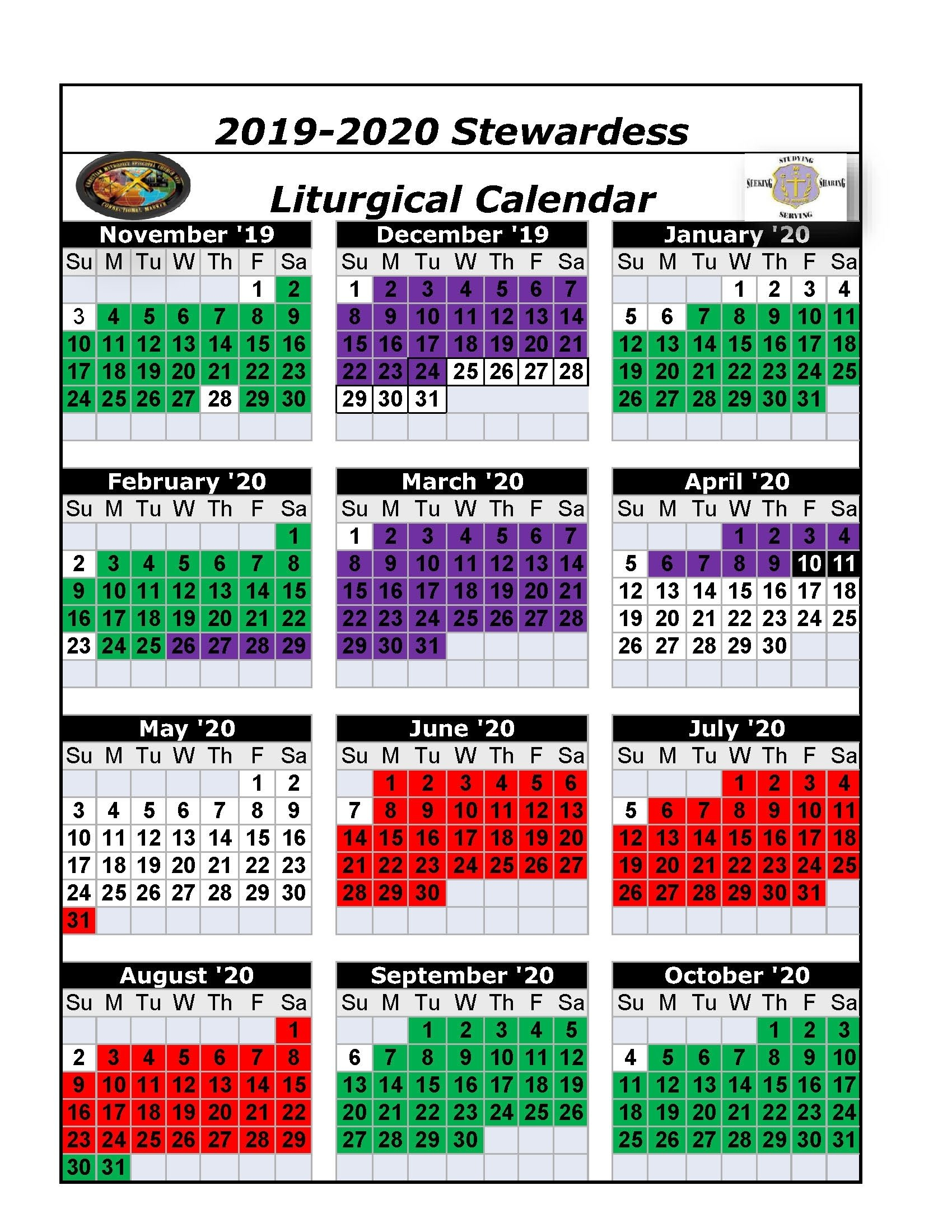 Printable Ame Liturgical Color Calendar 2020 – Calendar Liturgical Colors Calendar For Methodist