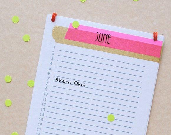 Printable Birthday Calendar | Zakka Life Fillable Birthday Calendar Free