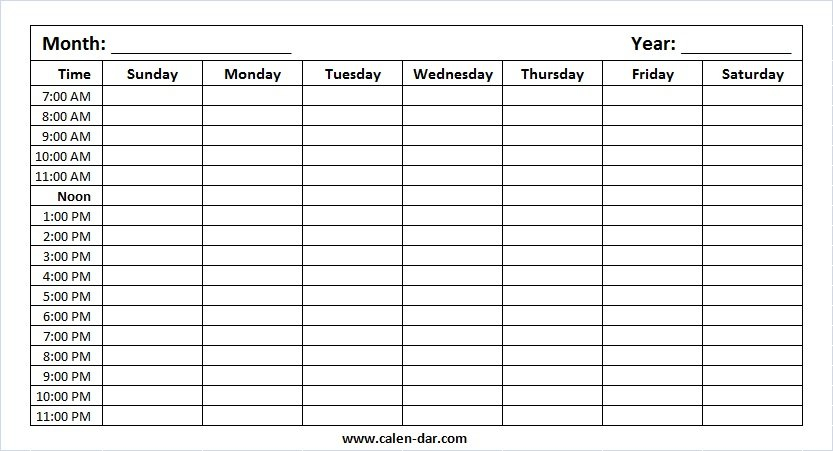Printable Blank Weekly Calendar Monday To Sunday With Hours Free Time Slot Template