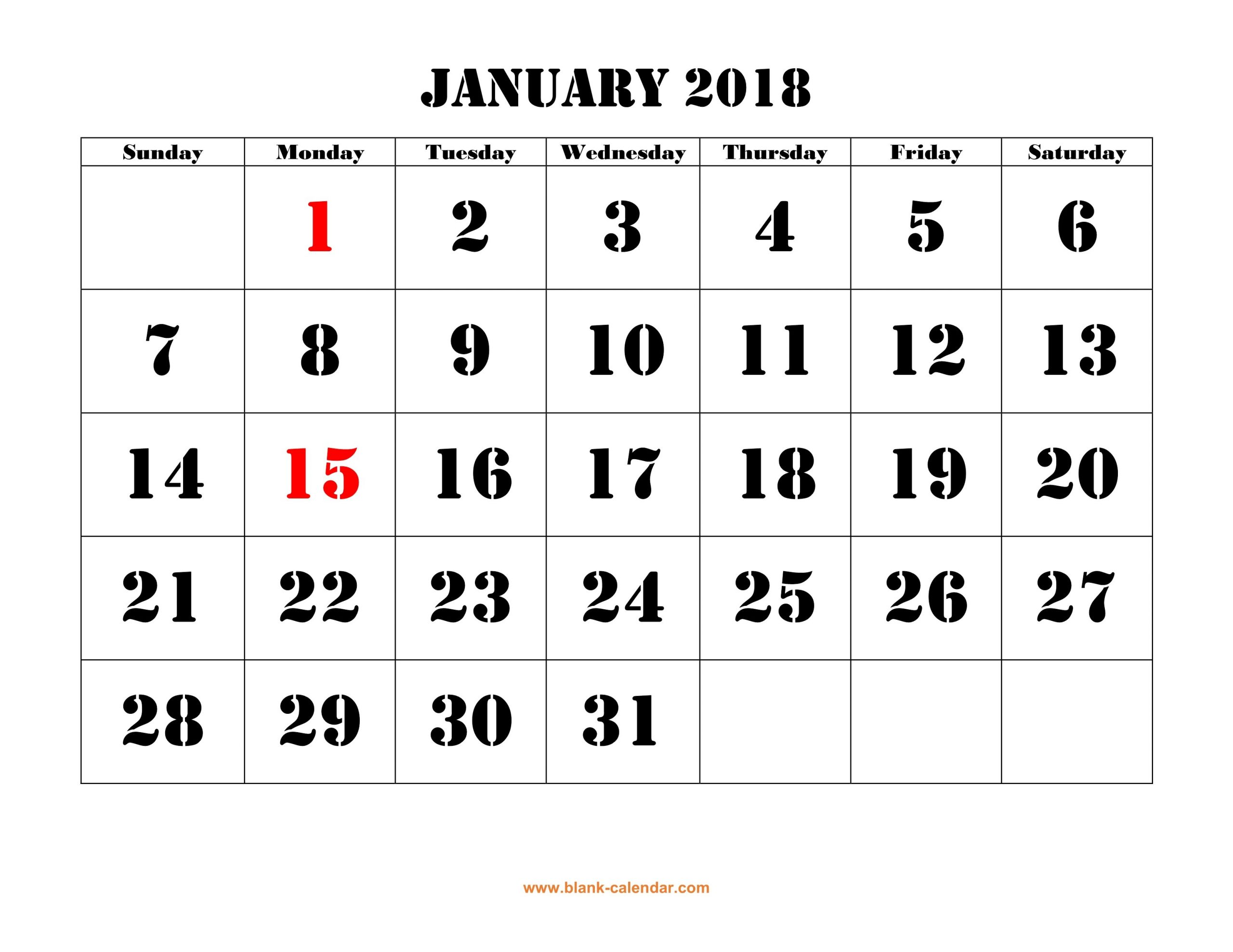 Printable Calendar 2018 | Free Download Yearly Calendar Printable Month Calendar With Times