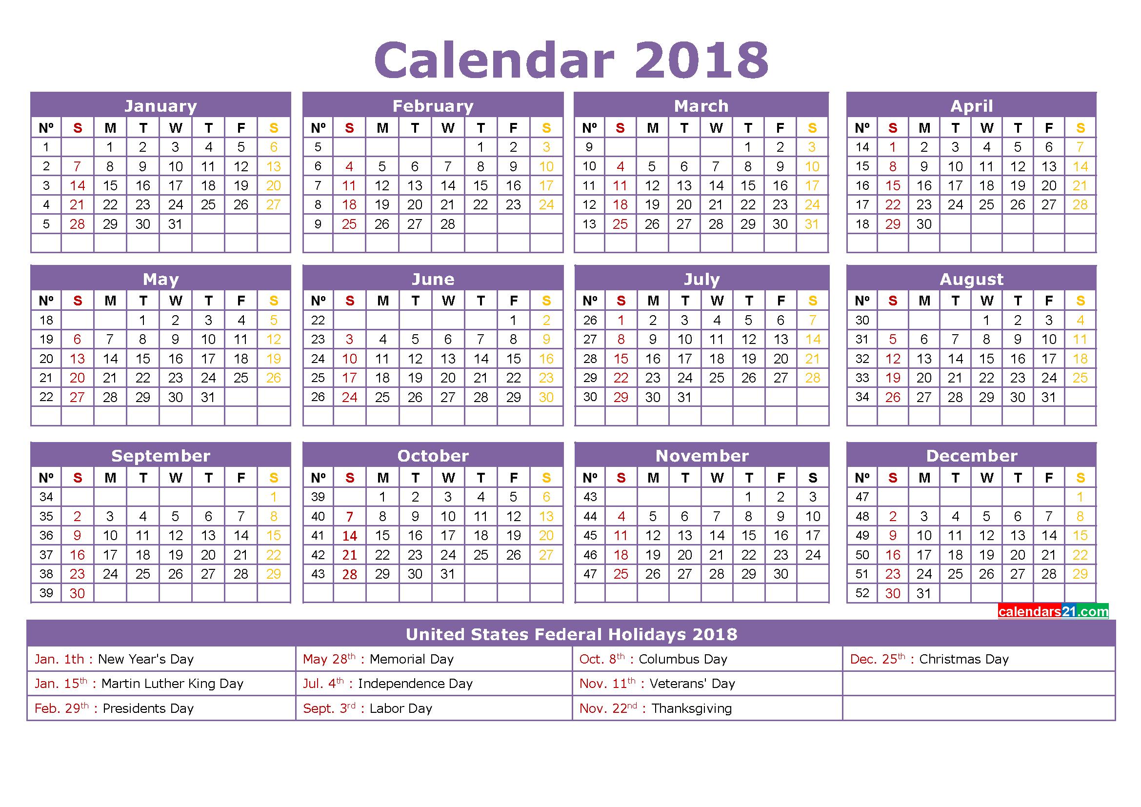 Printable Calendar 2018 With Holidays Full Year (4 Free 4 Year Calendar Printable