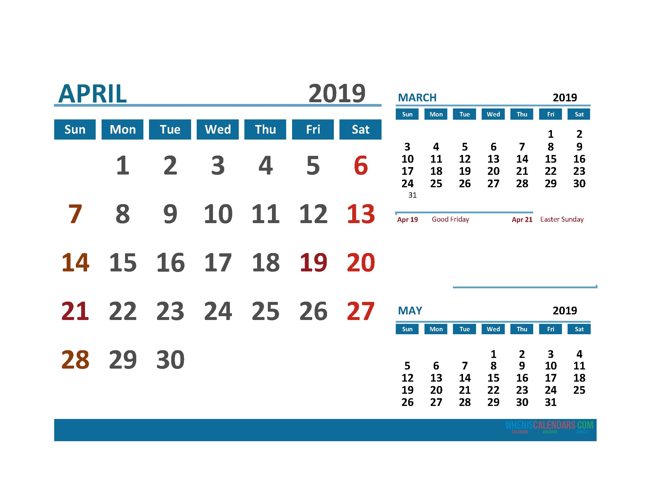 Printable Calendar April 2019 With Holidays 1 Month On 1 3 Month Calendar April Free Printable