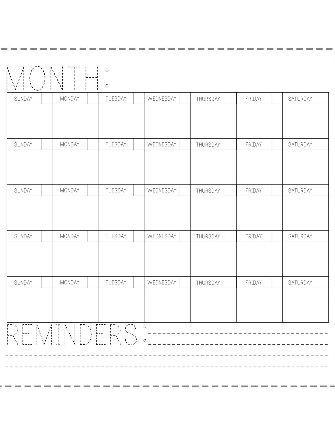 Printable Calendar Fill In The Blank Printable Calendar Monthly Fill In