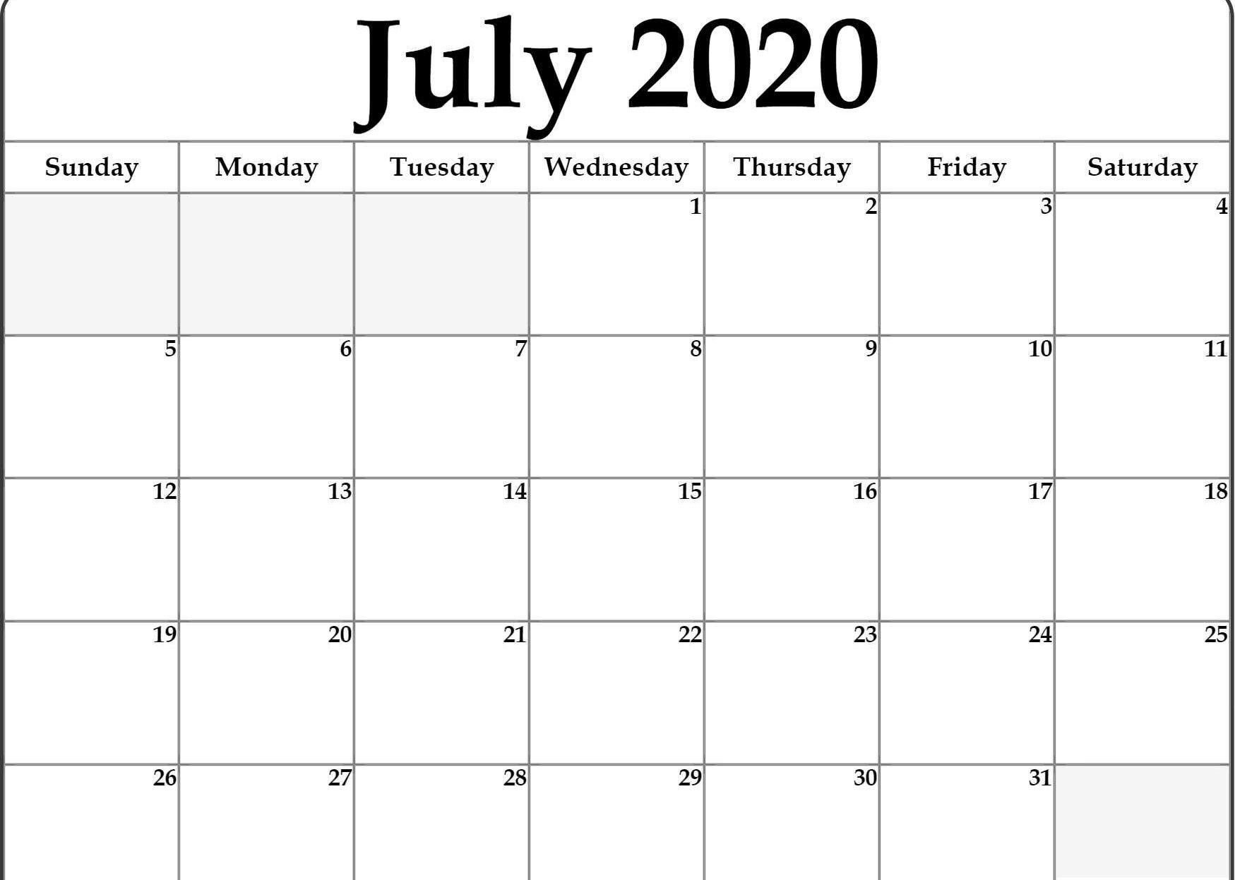 Printable Calendar For July 2020   July Calendar How To Fill June Calendar