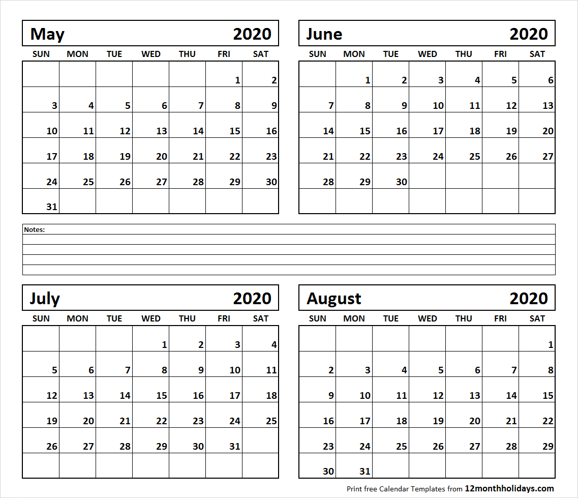 Printable Calendar June And July And August 2020 | Example 3 Month Calendar April Free Printable