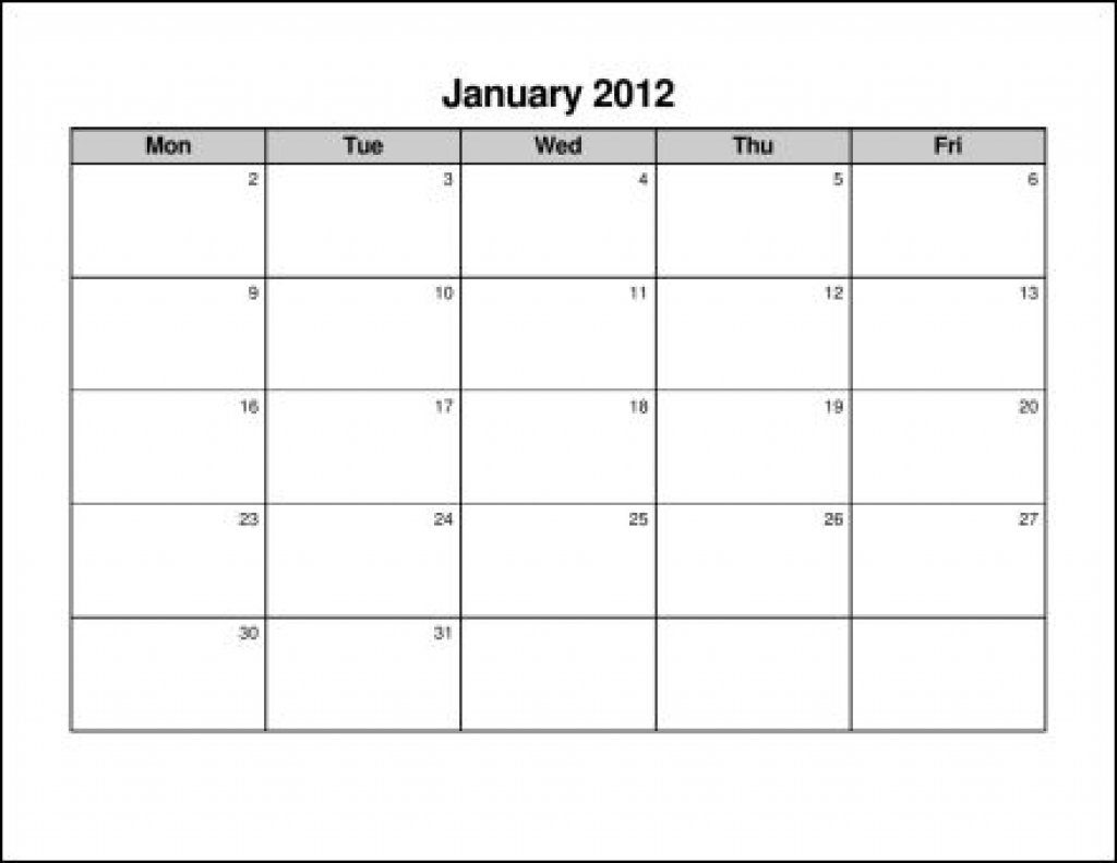 Printable Calendar Monday To Friday : Free Calendar Template Monday Thru Friday Printable Calendar