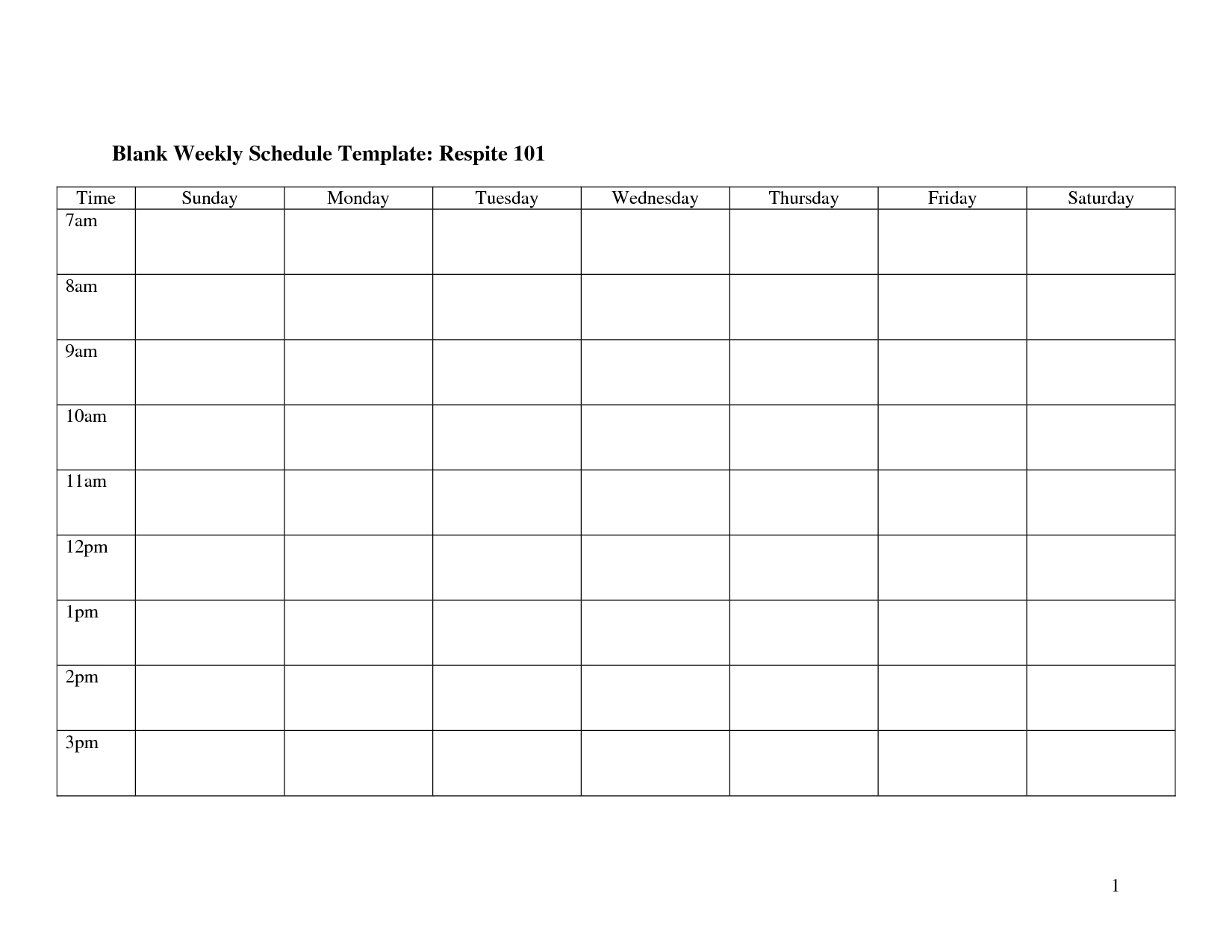Printable Calendar Sunday Through Saturday   Ten Free Monday To Friday Blank Week Schedule