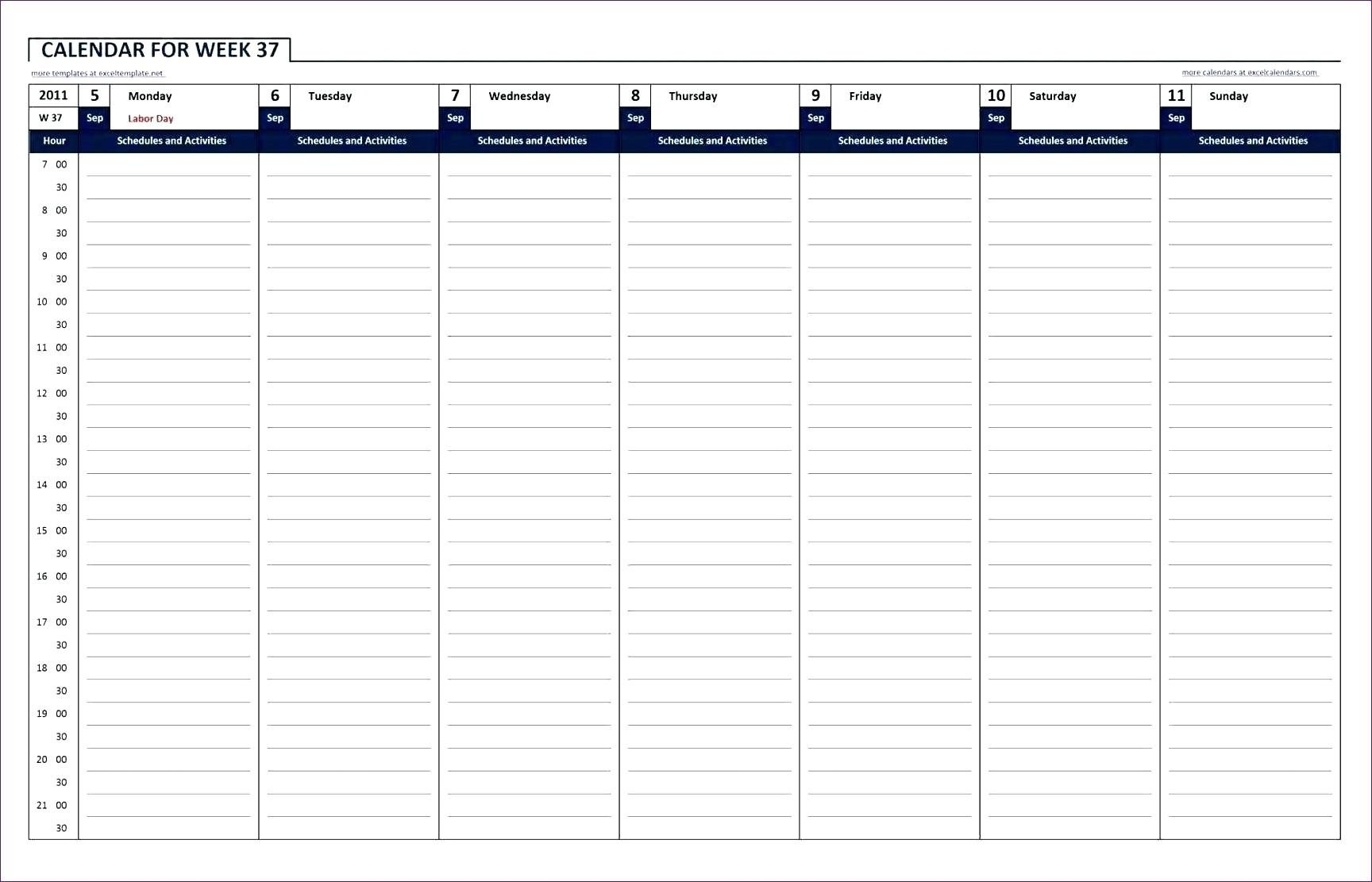 Printable Calendar With Hour Schedule   Example Calendar Blank Calendar Day With Hours