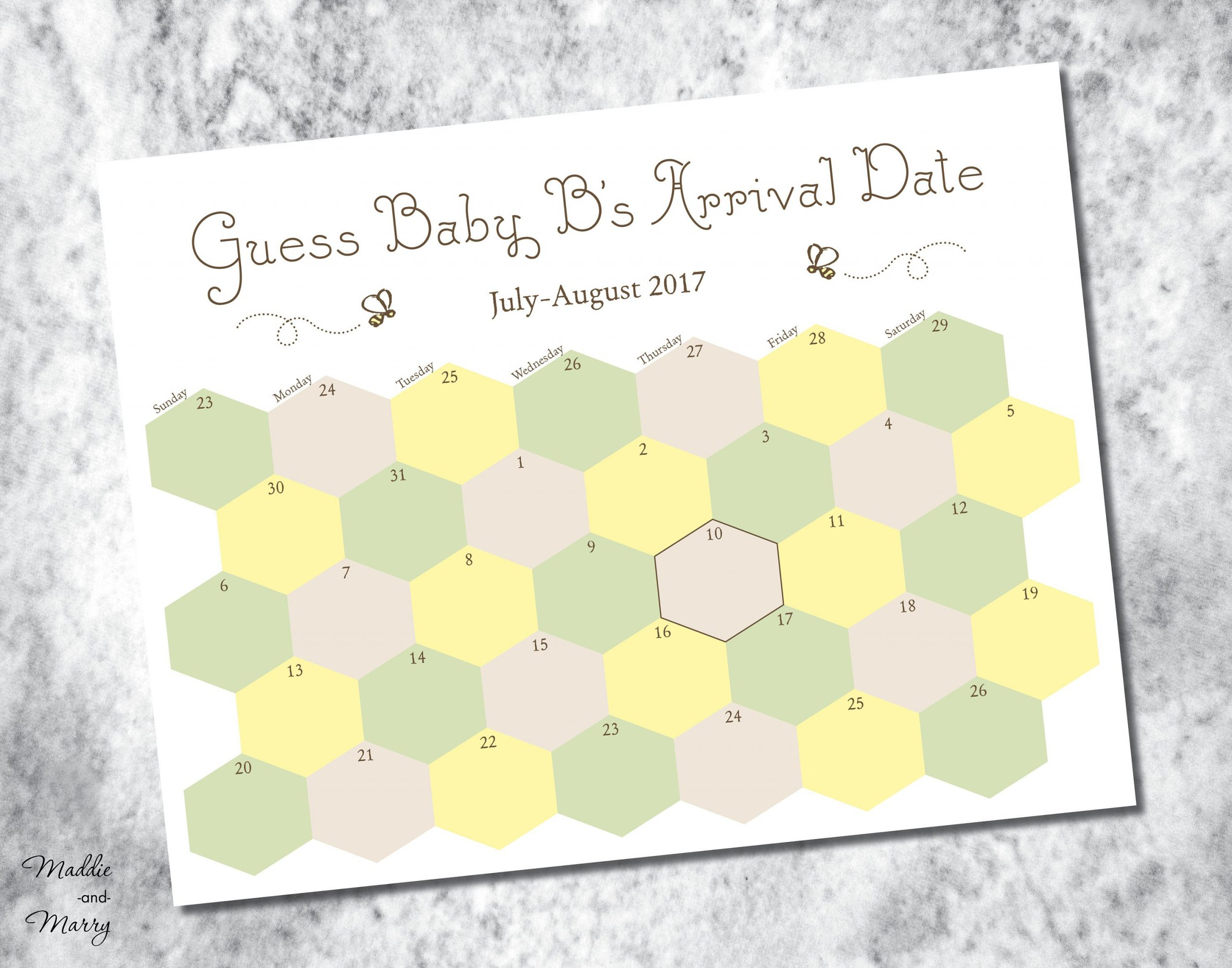 Printable Due Date Guess Baby'S Arrival Calendar   Etsy Printable Due Date Guess