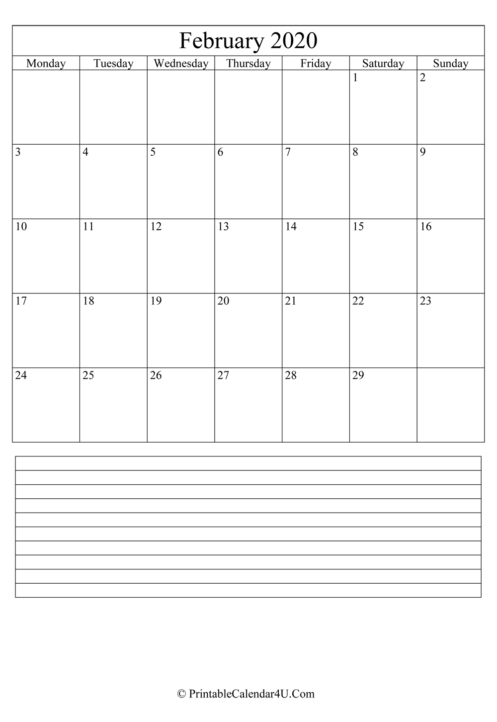 Printable February Calendar 2020 With Notes (Portrait) Calendar Template With Notes Section