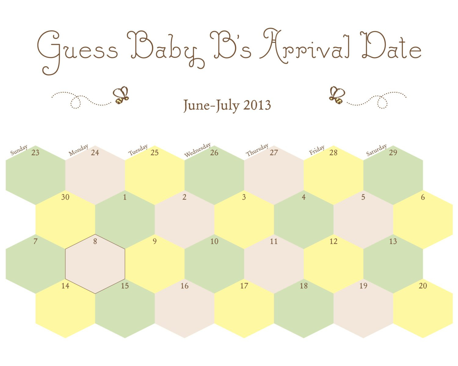 Printable Guess Baby'S Arrival Due Datemaddieandmarry Free Printable Baby Guessing Calendar