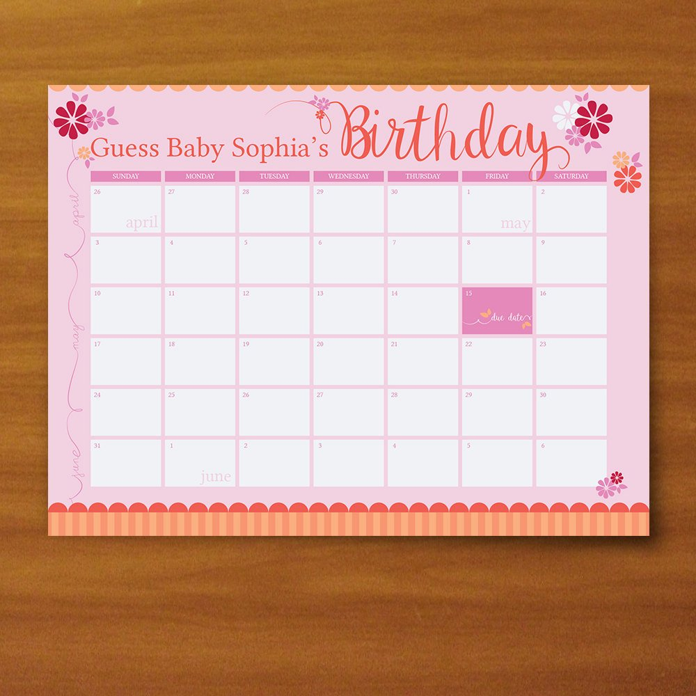 Printable Guess The Due Date Calendar Baby Girl Pink And Guess The Baby Date Calendar