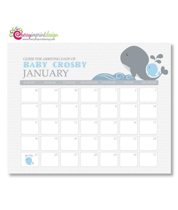 Printable Guess The Due Date Calendar Baby Guess The Due Date