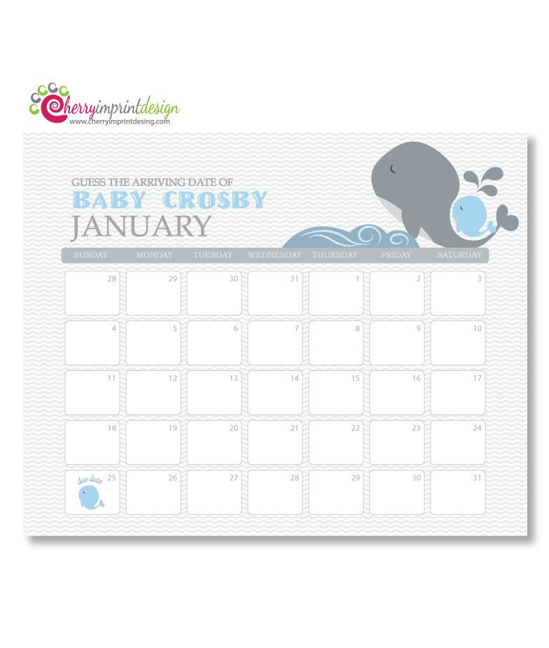 Printable Guess The Due Date Calendar Baby Printable Baby Calendar Due Date