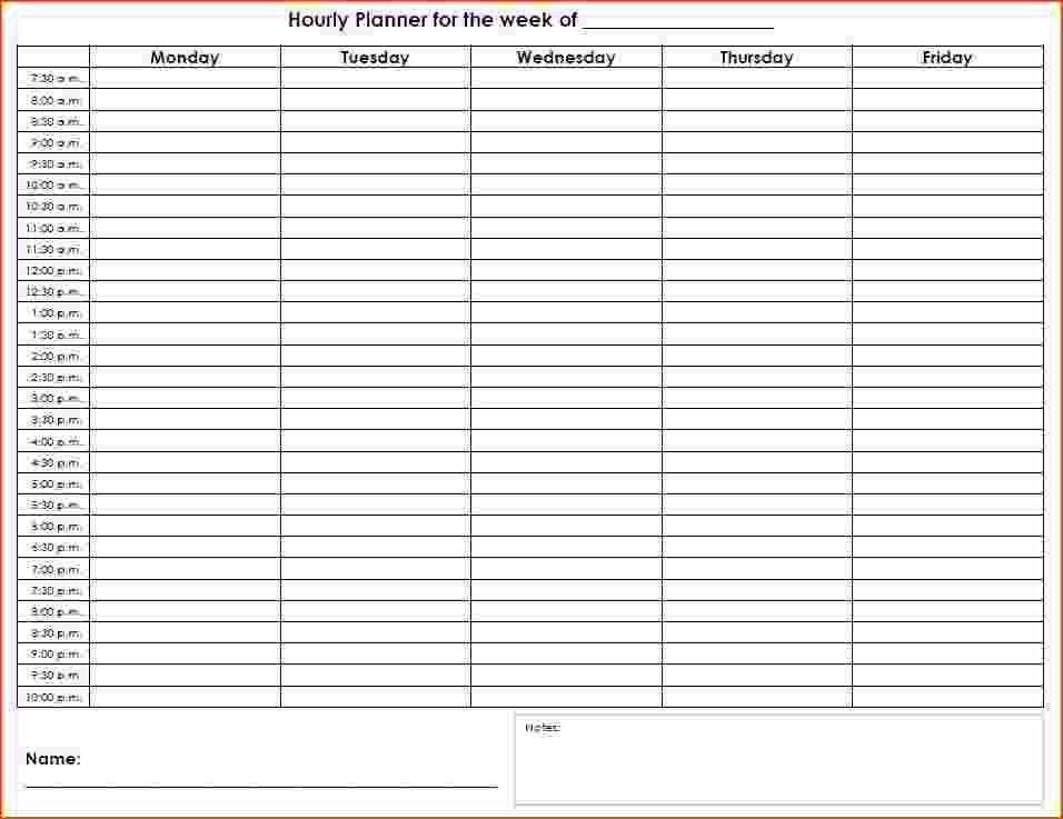 Printable Hourly Schedule   Template Business Blank Calendar Day With Hours