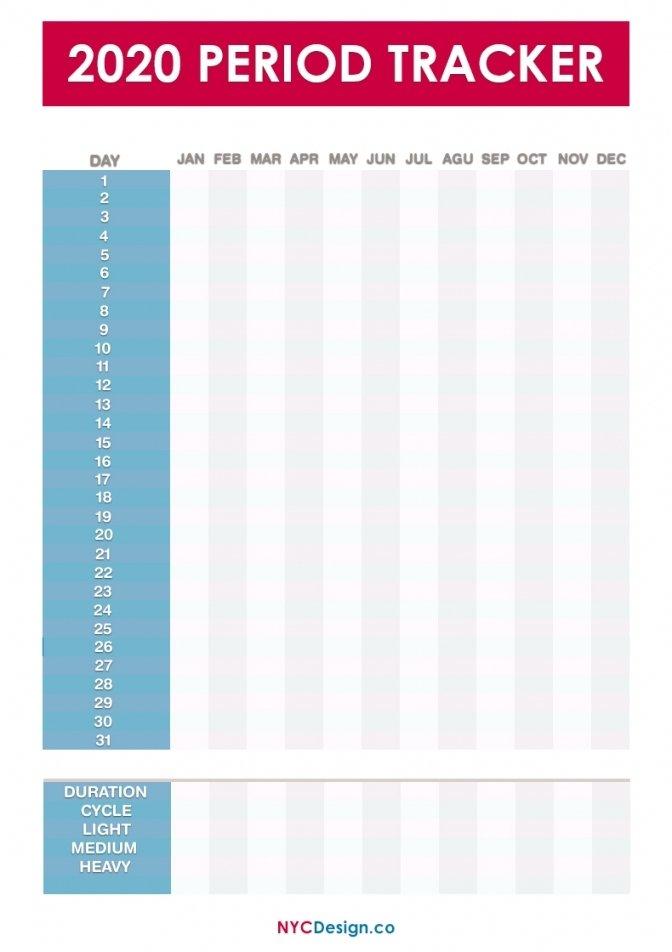 Printable Menstrual Cycle Calendar Free   Free Letter Period Log Calendar Printable Free