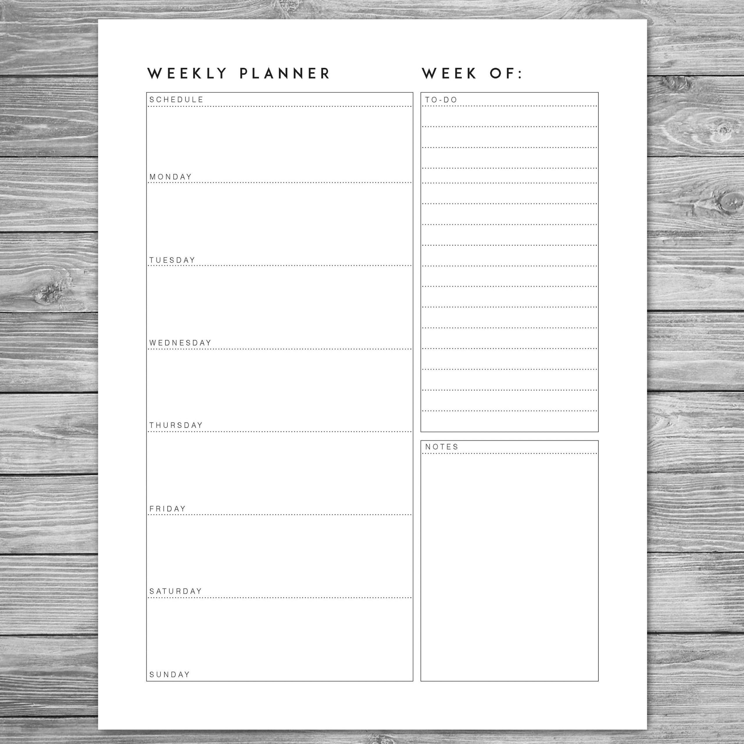 Printable Minimalist Weekly Planner, Weekly Schedule 8 Week Printable Timetable