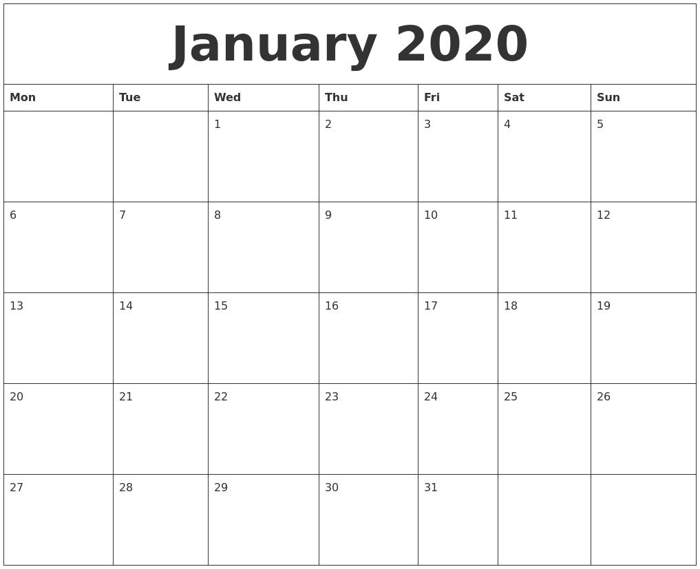 Printable Monday Friday Calendar 2020 Monthly | Calendar Mon – Friday Monthly Calendar Template