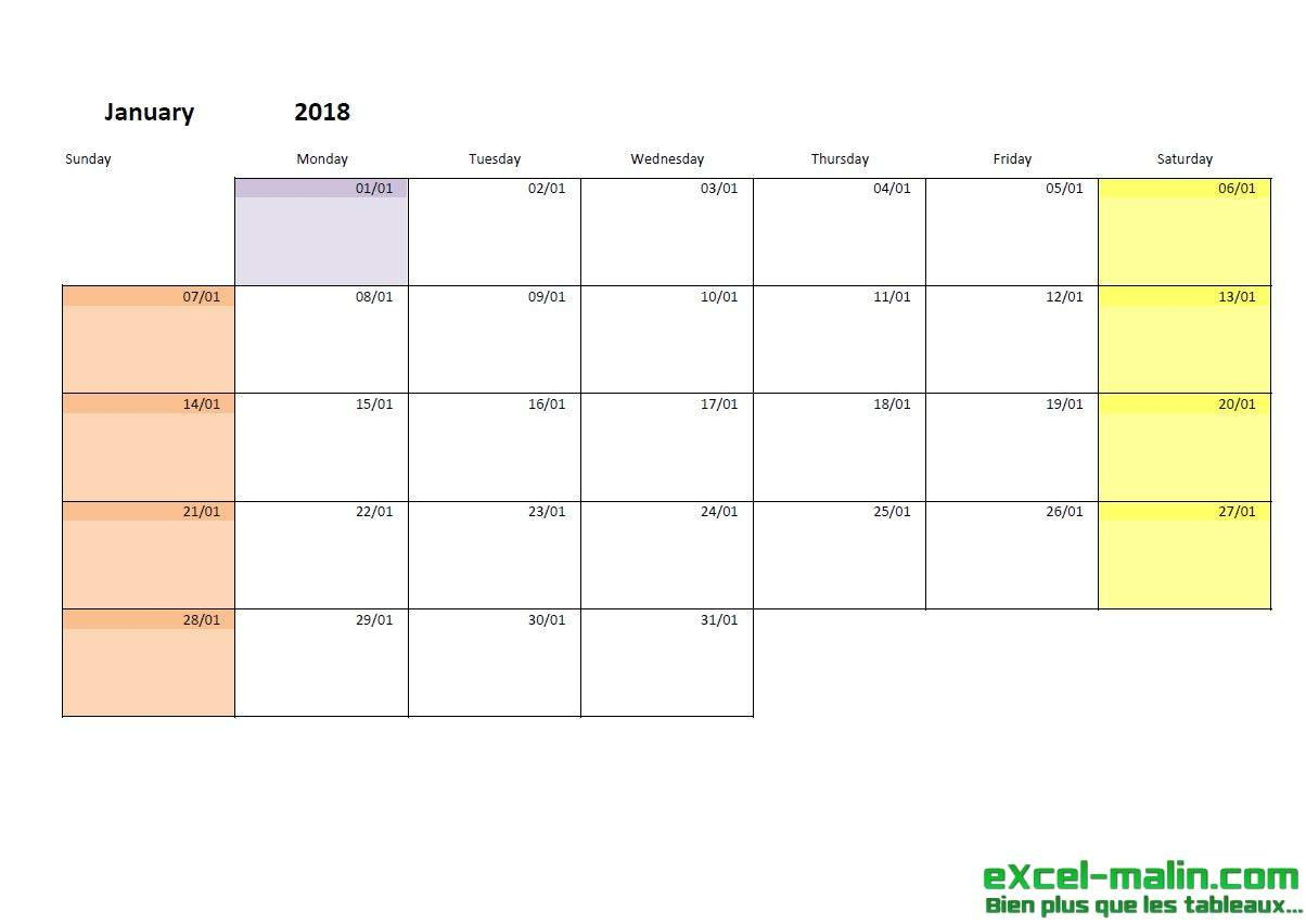 Printable Monthly Calendar Template For Excel | Excel Empty Monday Through Sunday Schedule