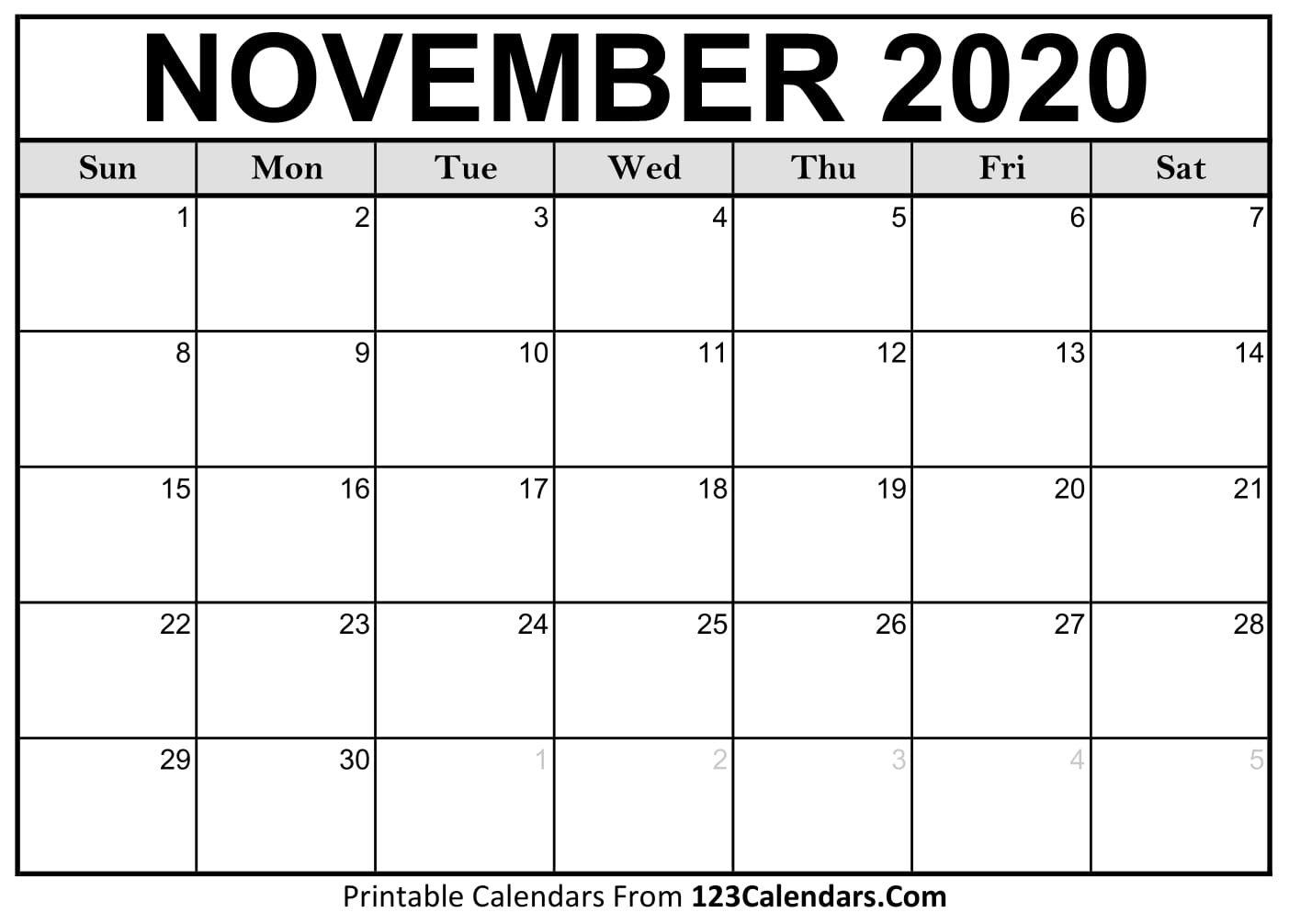 Printable November 2020 Calendar Templates | 123Calendars April Calendar That Can Be Edit