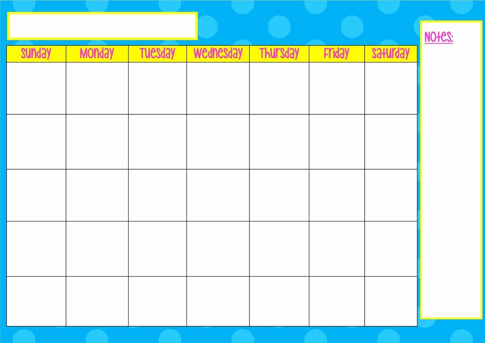Printable Sunday Thru Saturday To Do List Calendar Sunday Through Saturday Calendar