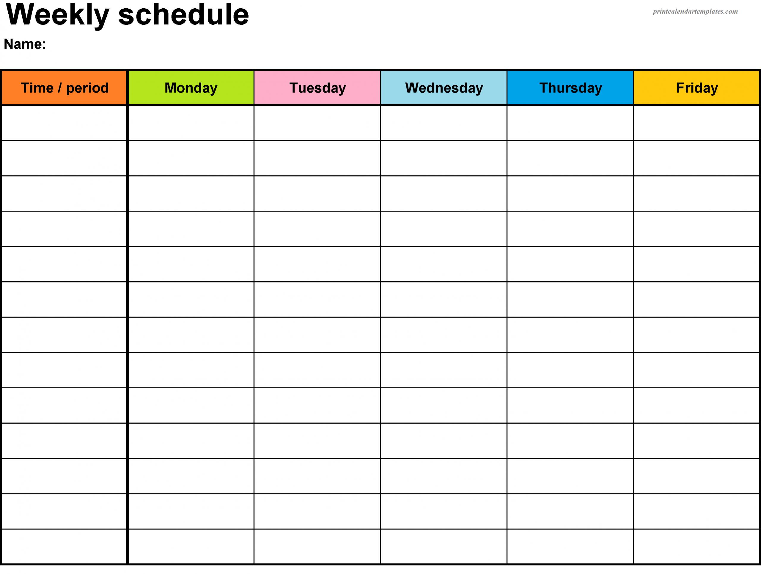 Printable Weekly Calendar 2018 Printable Calendar One Week Schedule Template Printable