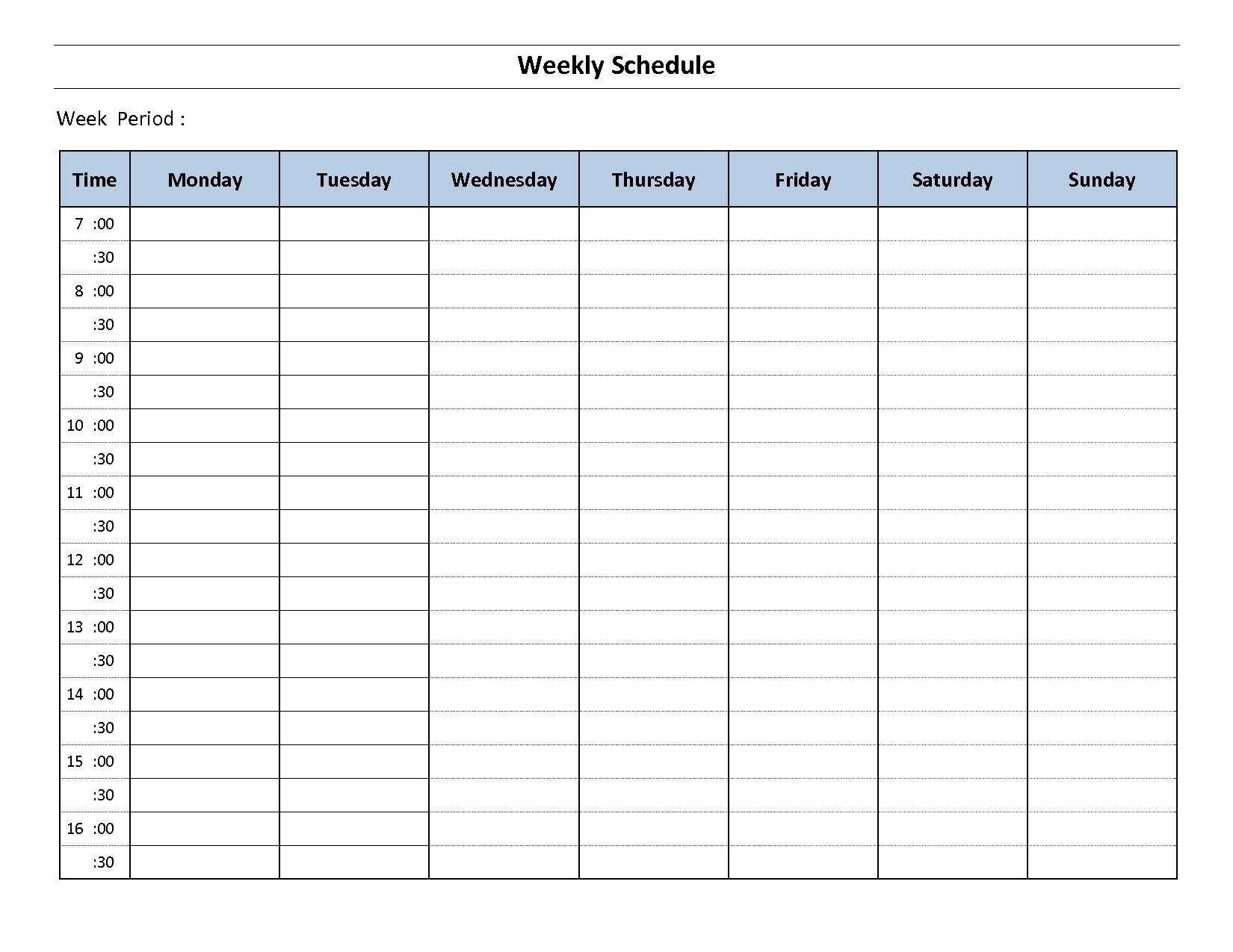 Printable Weekly Calendar Monday To Sunday – Template Printable Template For A Schedule Monday To Friday