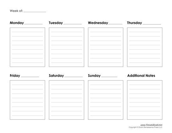 Printable Weekly Calendar Template – Free Blank Pdf Free Week Calendar Editable