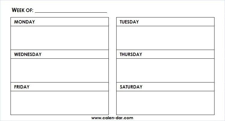 Printable Weekly Calendar Template Monday Friday With Time This Week Monday To Friday Printable Calendar