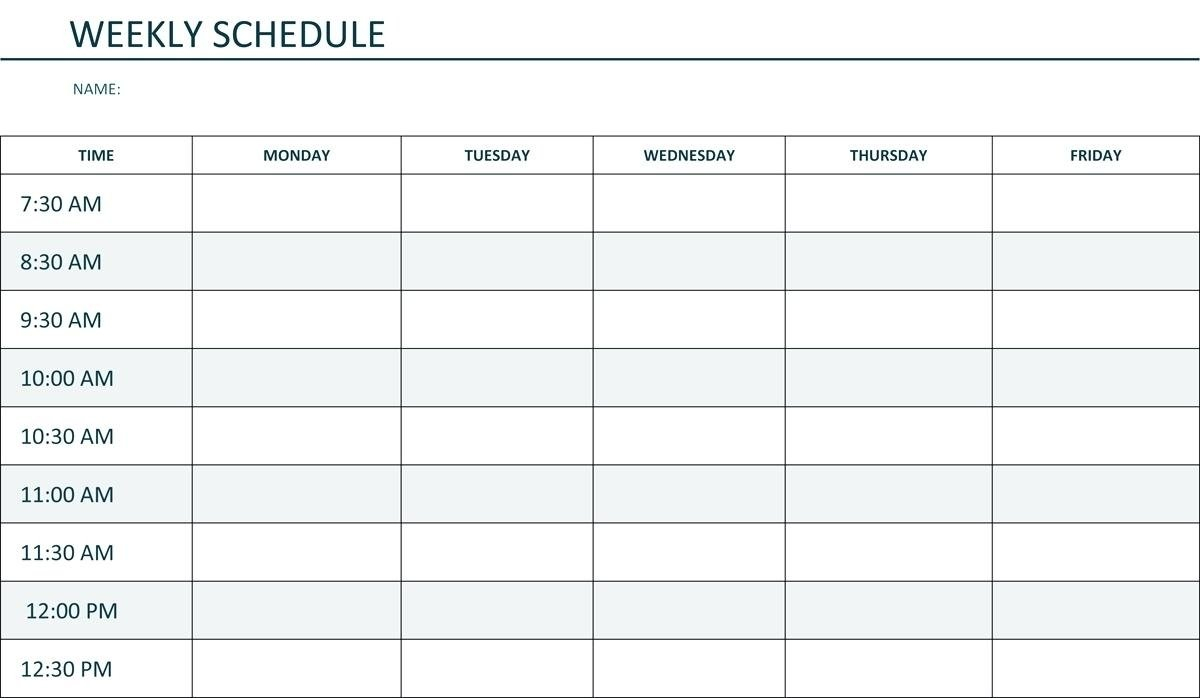 Printable Weekly Schedule Monday Through Friday – Calendar Monday Thru Friday Printable Calendar