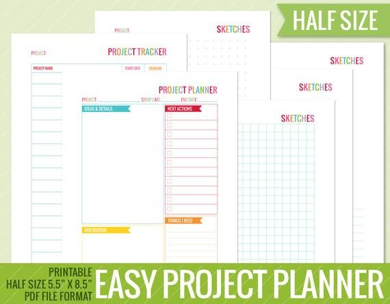 Project Planner 5.5 X 8.5 Half Size Printable Perpetual Printabel Planner Pages For 5.5 X 8.5 Planner