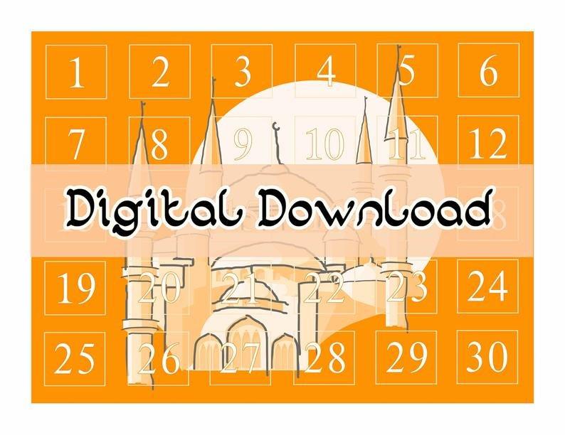 Ramadan Countdown Calendar Orange Digital Download   Etsy Ramadan Countdown Free Printable