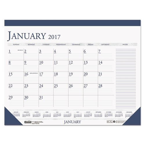 Recycled Two Color Monthly Desk Pad Calendar W/Large Notes Calendar Template With Notes Section