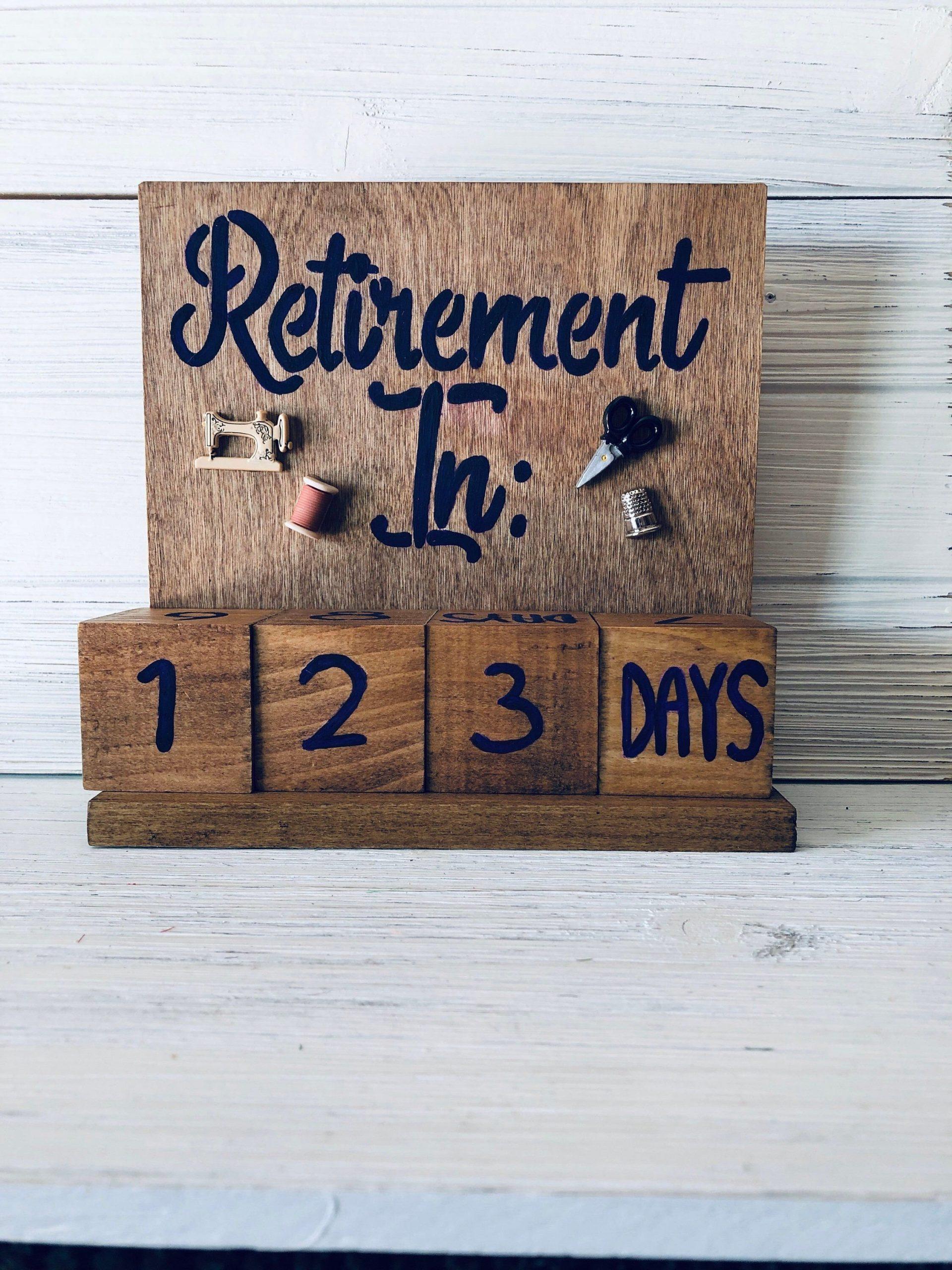 Retirement Countdown Calendar With Blocks – Sewing Theme Retirement Age Calendar Countdown