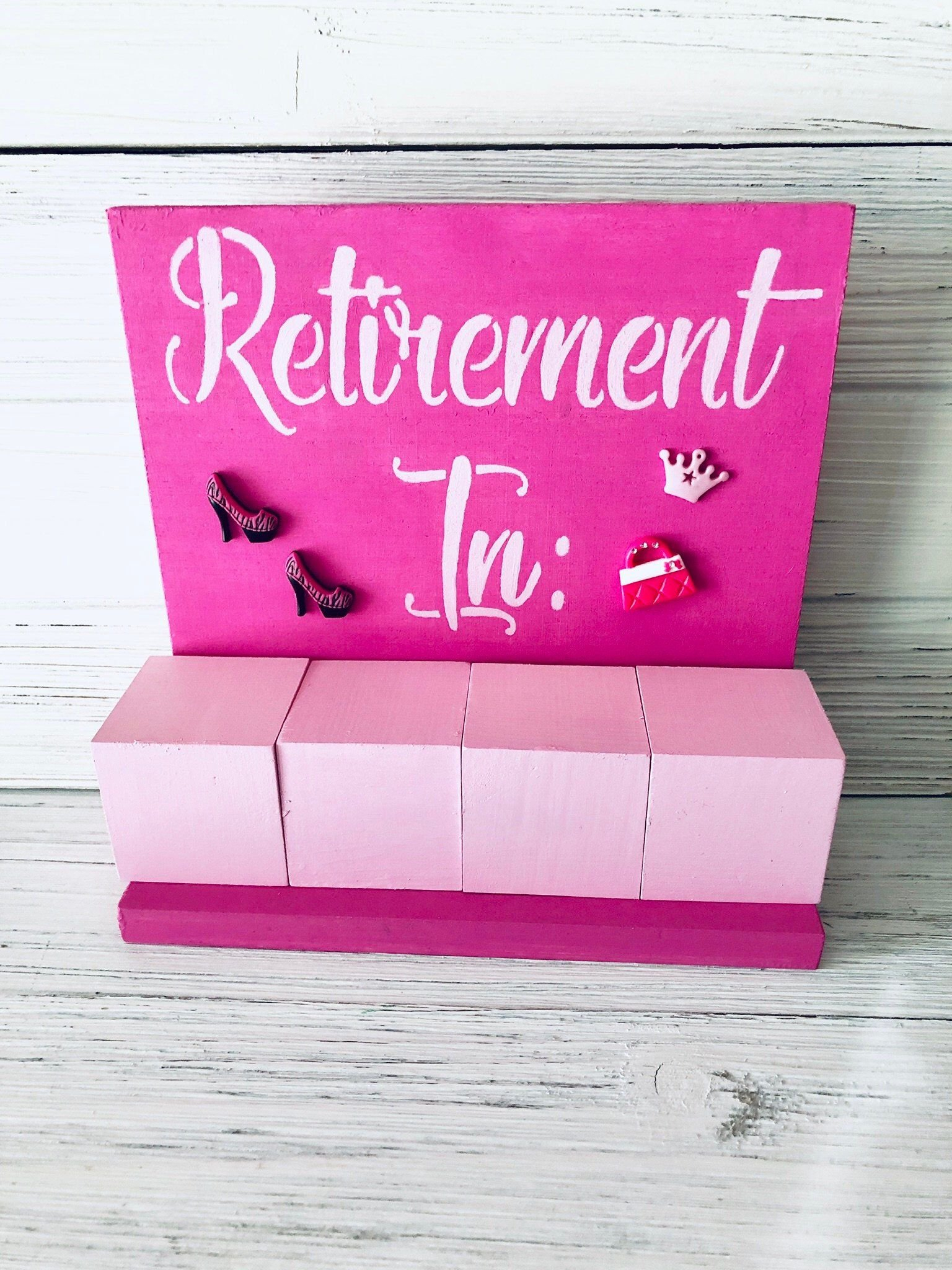 Retirement Days Until Block Countdown Calendar Bling Style Retirement Age Calendar Countdown