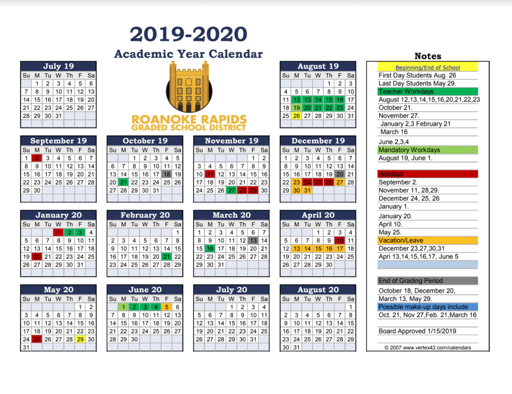 Roanoke Rapids Graded School District Blank Training Calendar Tueday Nights