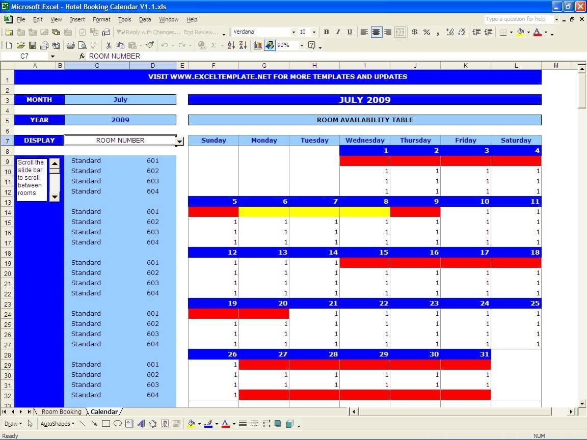 Room Booking Template Excel Download – Exceldl Booking And Reservation Calendar Excel Template
