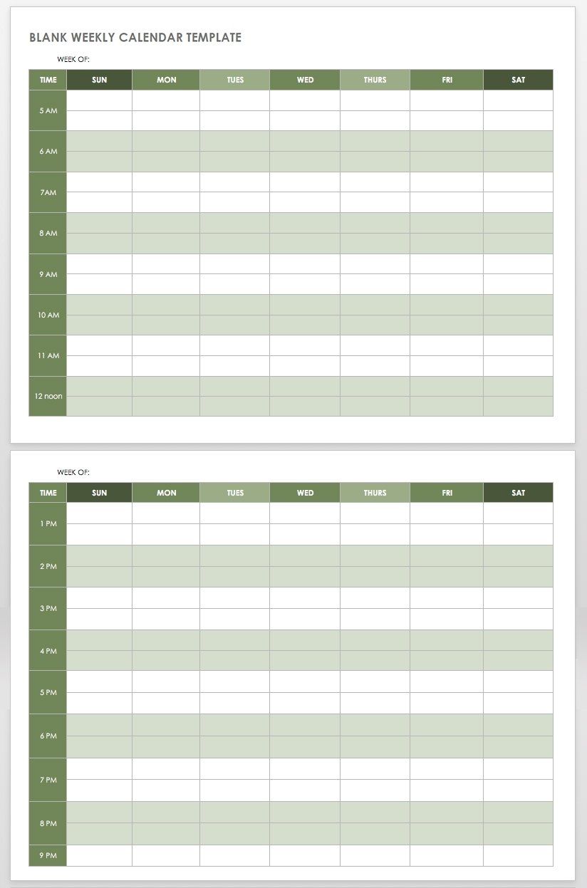 Schedule With Time Slots 6 Am – Calendar Inspiration Design Weekly Time Slots With Schedule