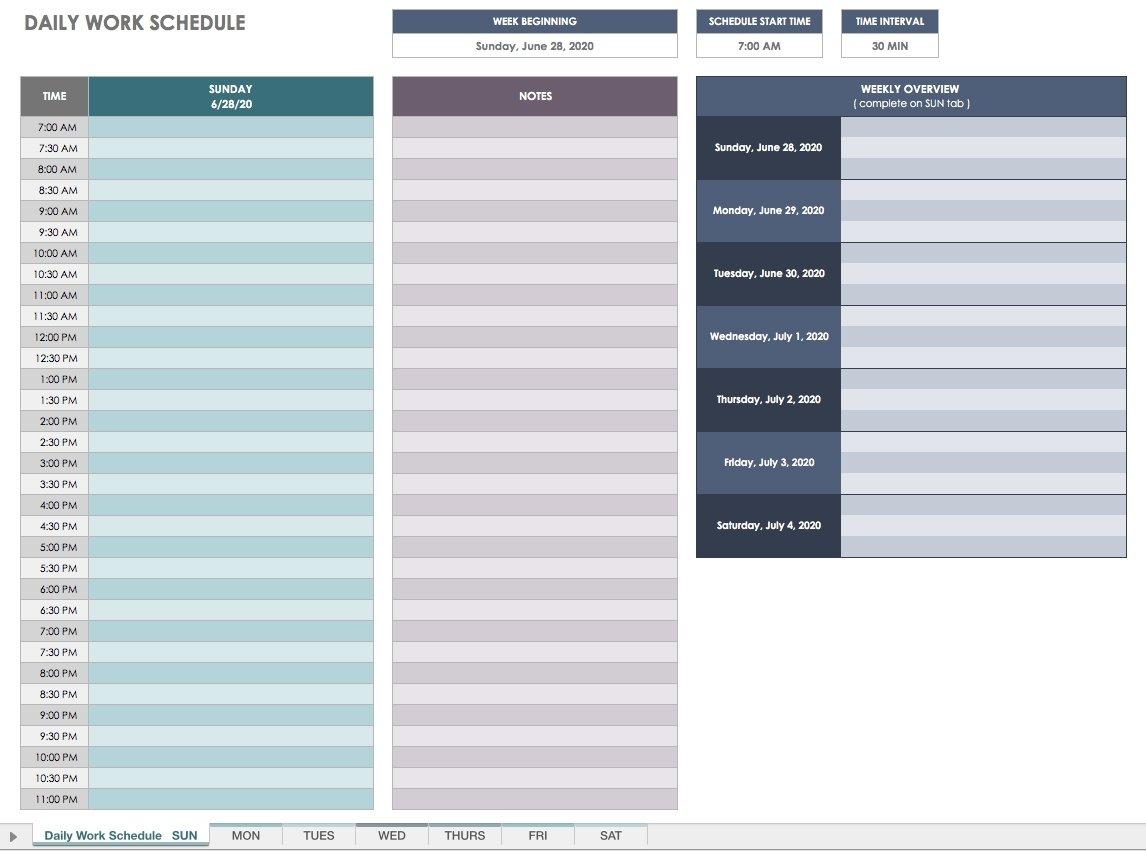 Scheduling Half Hourhour Day Planner – Calendar Daily Calendar By Hour