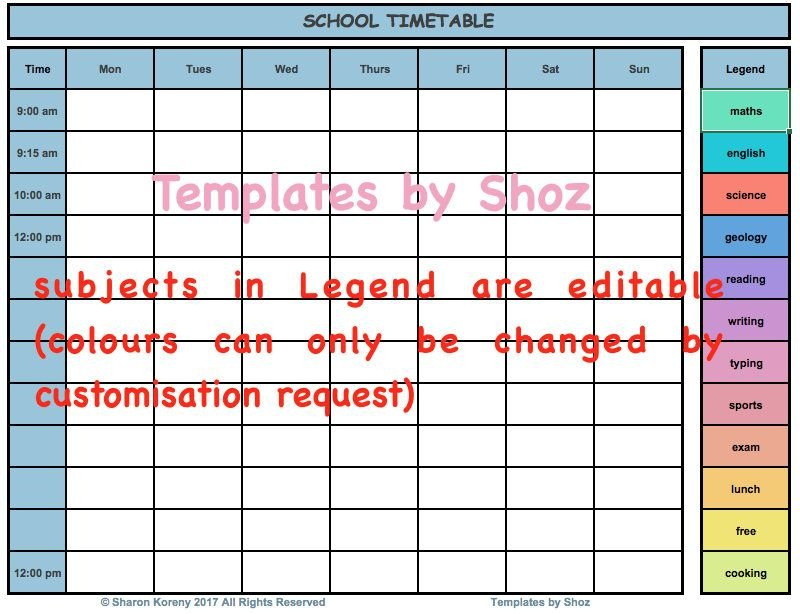School Class Schedule Timetable Excel Xlsx File With Auto Fill In School Schedule