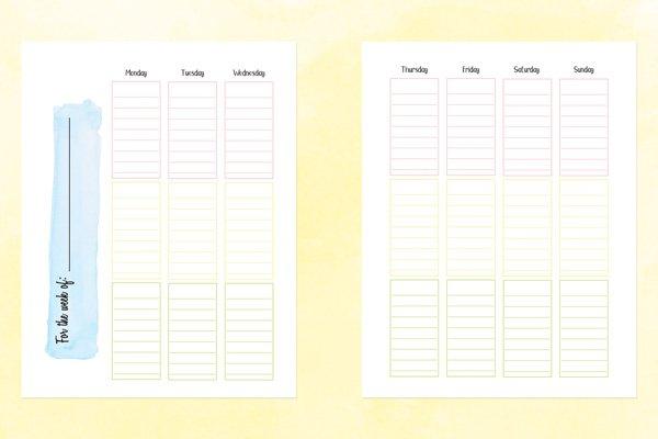 School Planner And 2020 21 Academic Calendar Printable 2 Week Calender Block Printable Sunday To Sunday