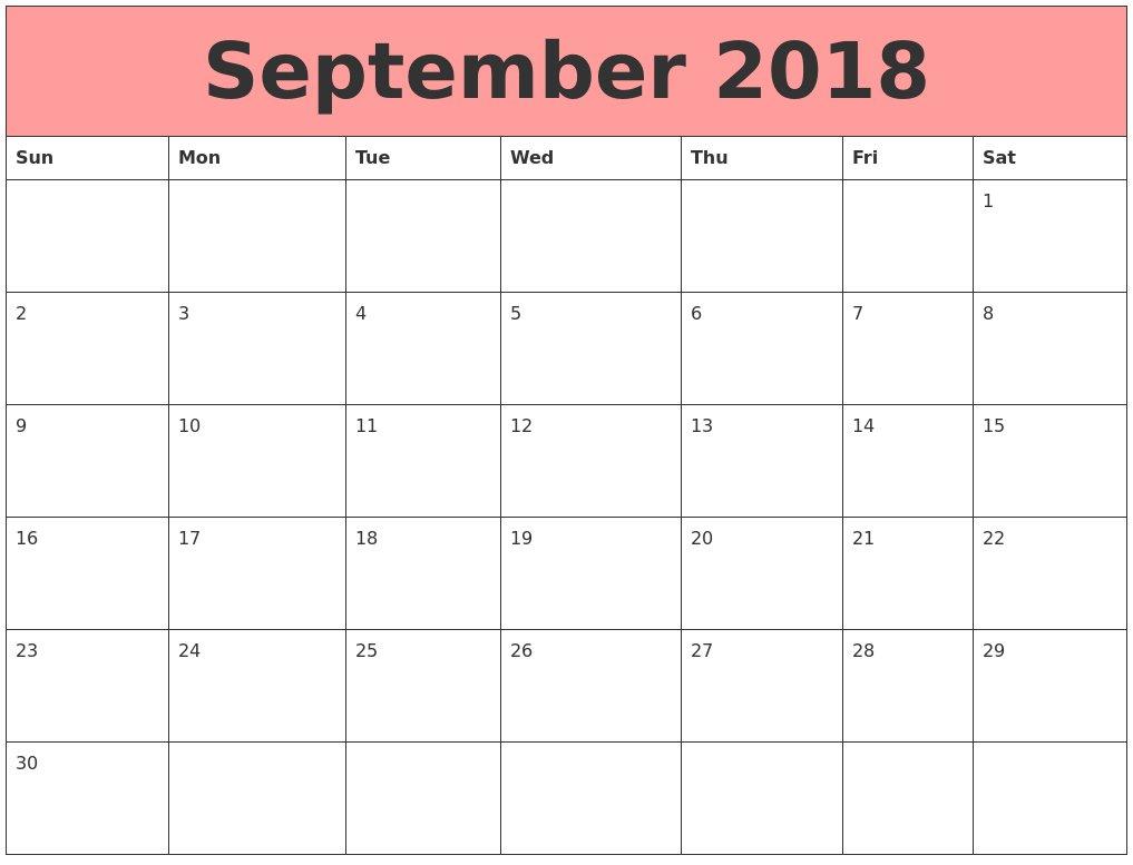 September 2018 Calendar Word – Printable Week Calendar Printable Calendar For The Week Of March 2 Thru March 6